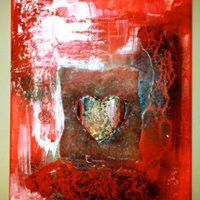 Iceno powertex schilderij hart